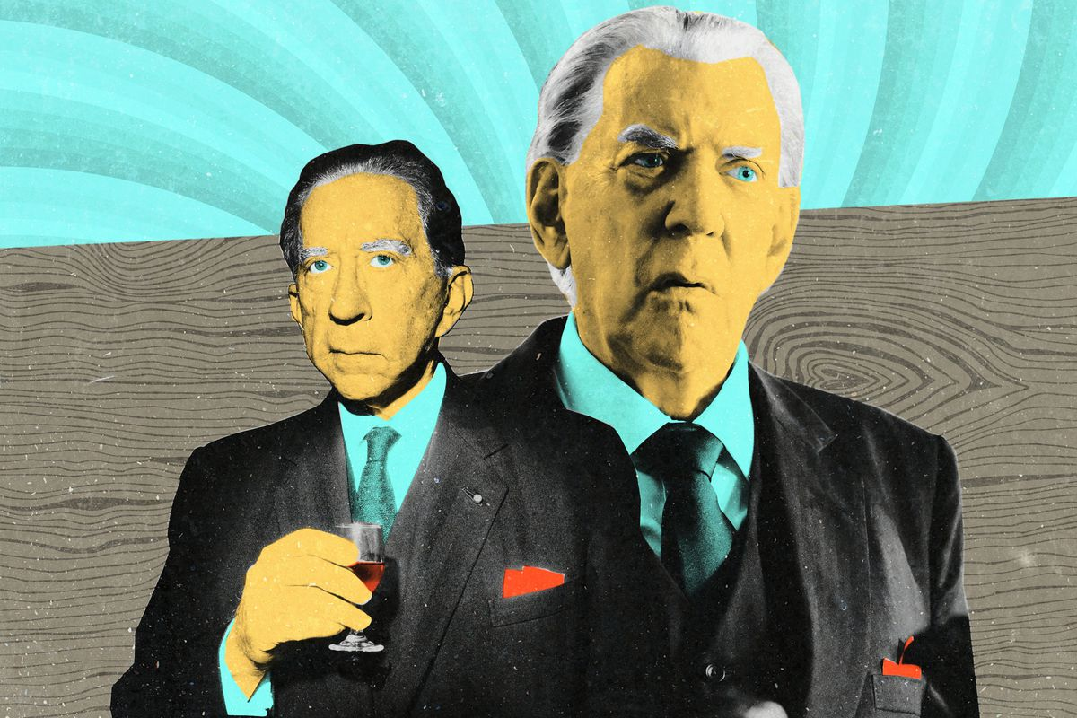 A side-by-side photo illustration of J. Paul Getty and Donald Sutherland as J. Paul Getty in 'Trust'