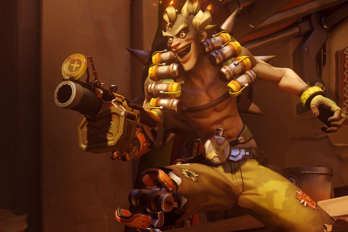 Overwatch character Junkrat holding his weapon with a menacing look on his face