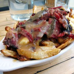 """Smoked meat poutine from Mile End by <a href=""""http://www.flickr.com/photos/foodforfel/8230692811/in/pool-29939462@N00/"""">foodforfel</a>"""