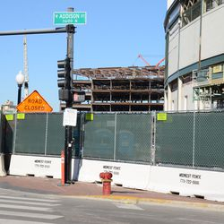 10:40 a.m. The small area of sidewalk that remains open, in front of the ballpark, at Clark and Addison -