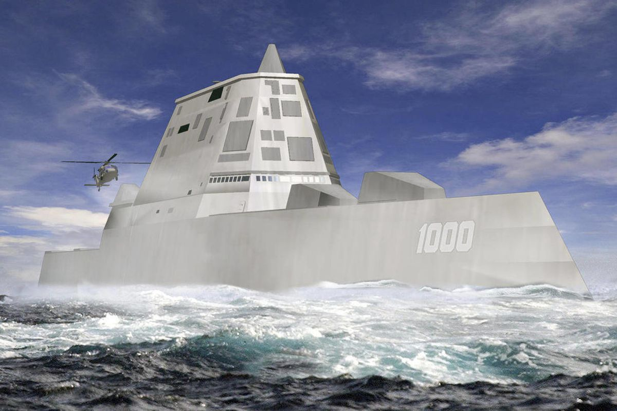 FILE - This file image released by Bath Iron Works shows a rendering of the DDG-1000 Zumwalt, the U.S. Navy's next-generation destroyer, which has been funded to be built at Bath Iron Works in Maine and at Northrop Grumman's shipyard in Pascagoula, Miss.