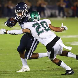 The Wagner Seahawks take on the UConn Huskies in a college football game at Pratt & Whitney Stadium at Rentschler Field in East Hartford, CT on August 29, 2019.
