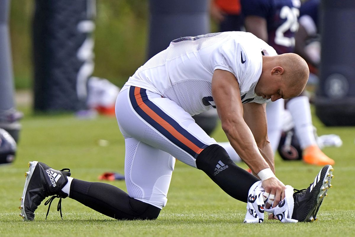 Bears tight end Jimmy Graham stretches during training camp.