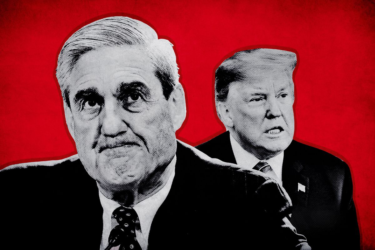 A photo collage of special counsel Robert Mueller and President Donald Trump