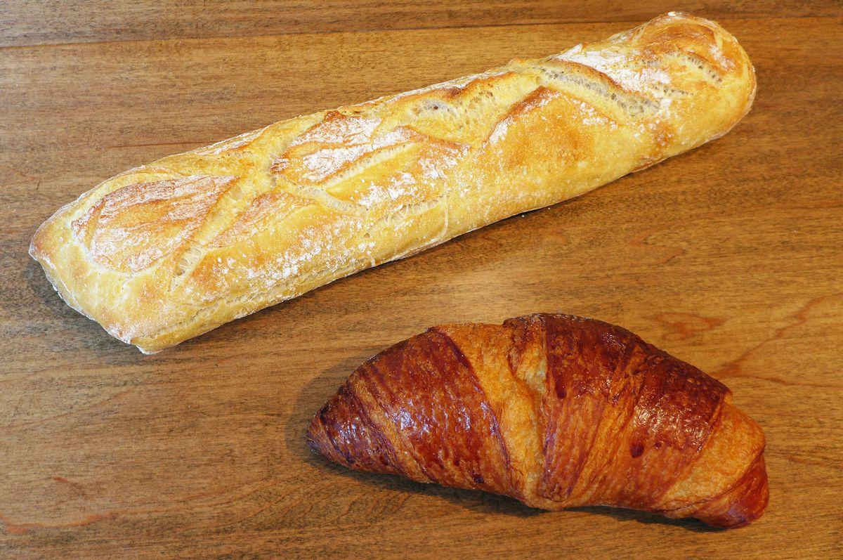 Baguette and croissant