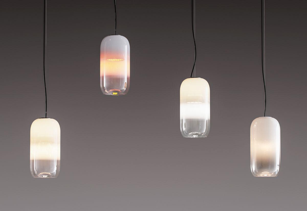 Four hanging, glowing pendants