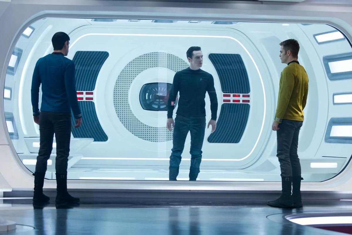 """Zachary Quinto is Spock, Benedict Cumberbatch is John Harrison and Chris Pine is Kirk in """"Star Trek Into Darkness."""""""
