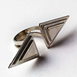 Open horizontal Double Pyramid ring in sterling.