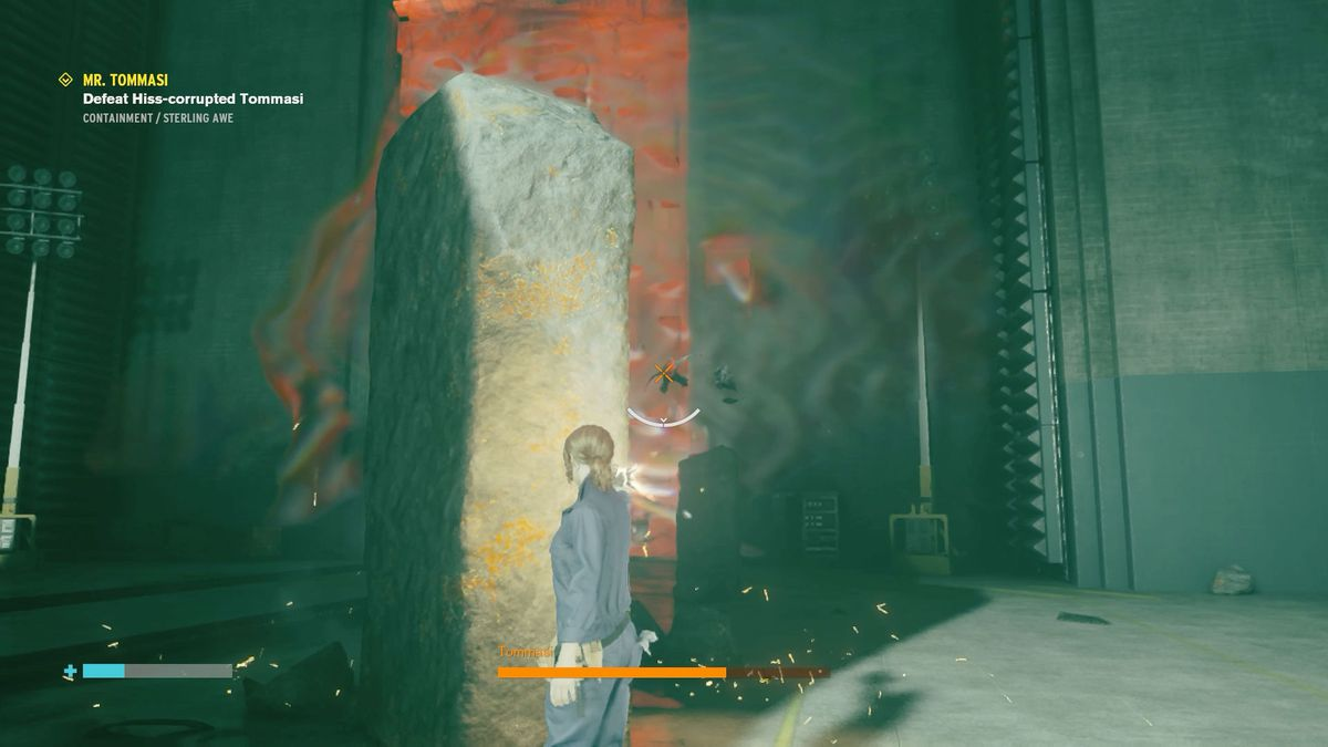 Standing behind cover in Control's second Tommasi boss fight
