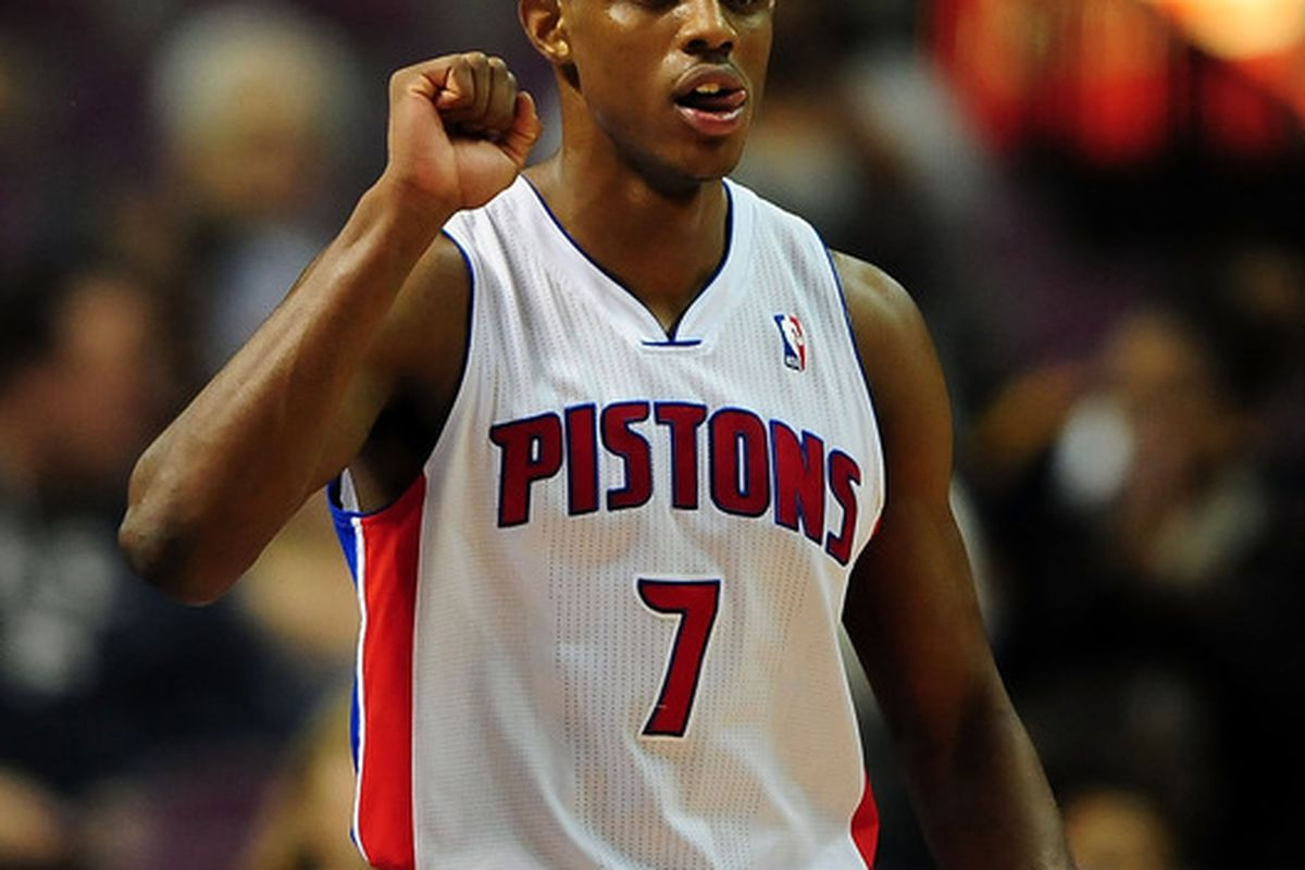 April 17, 2012; Detroit, MI, USA; Detroit Pistons point guard Brandon Knight (7) against the Cleveland Cavaliers at The Palace of Auburn Hills. Mandatory Credit: Andrew Weber-US PRESSWIRE