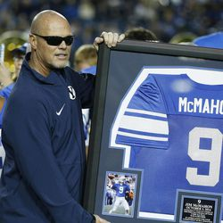 Former Cougar QB Jim McMahon is honored at halftime in Provo Friday, Oct. 3, 2014.