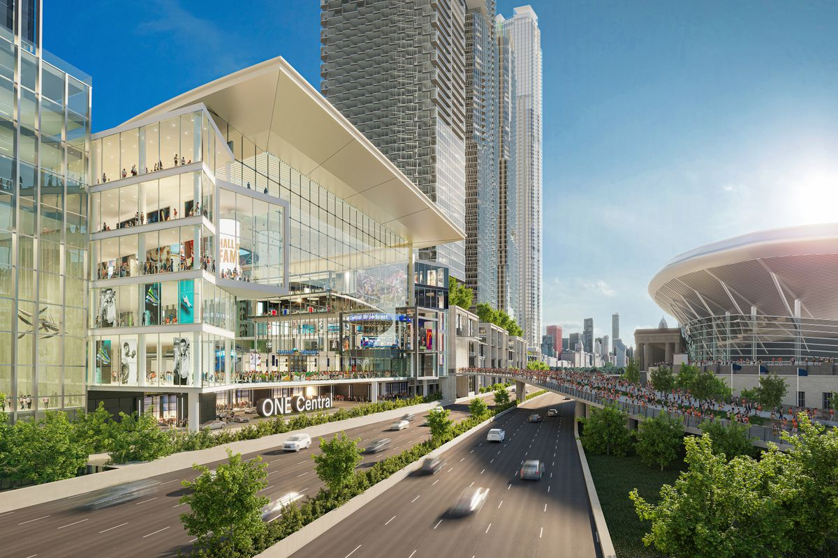 A rendering of the One Central transit hub and part of the overall development, with Soldier Field shown on the right.