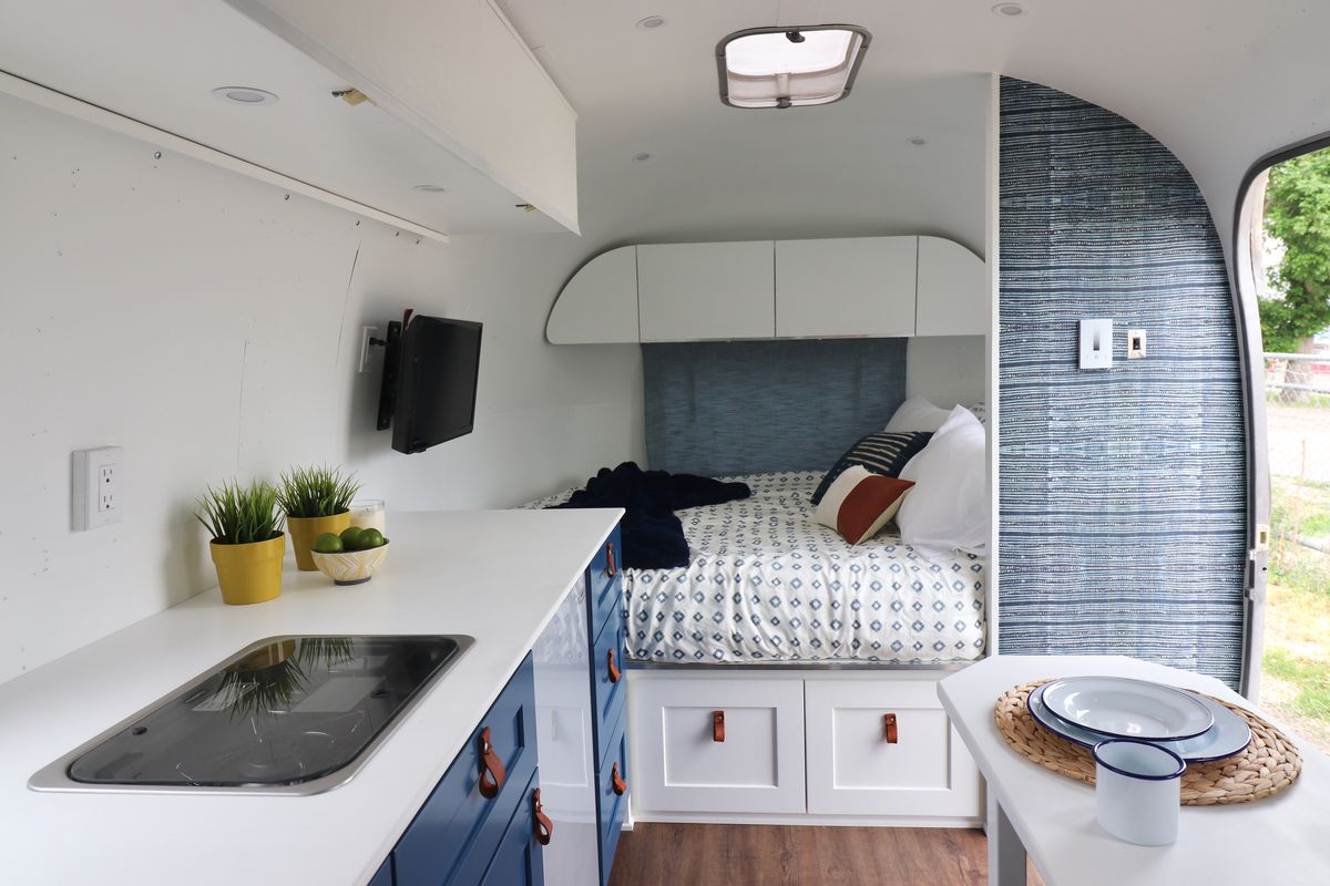 Vintage Airstream travel trailer transformed into modern