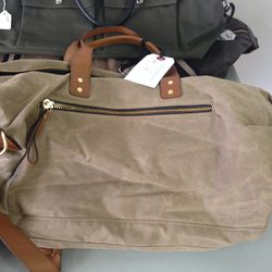 Canvas and leather travel bag, $125