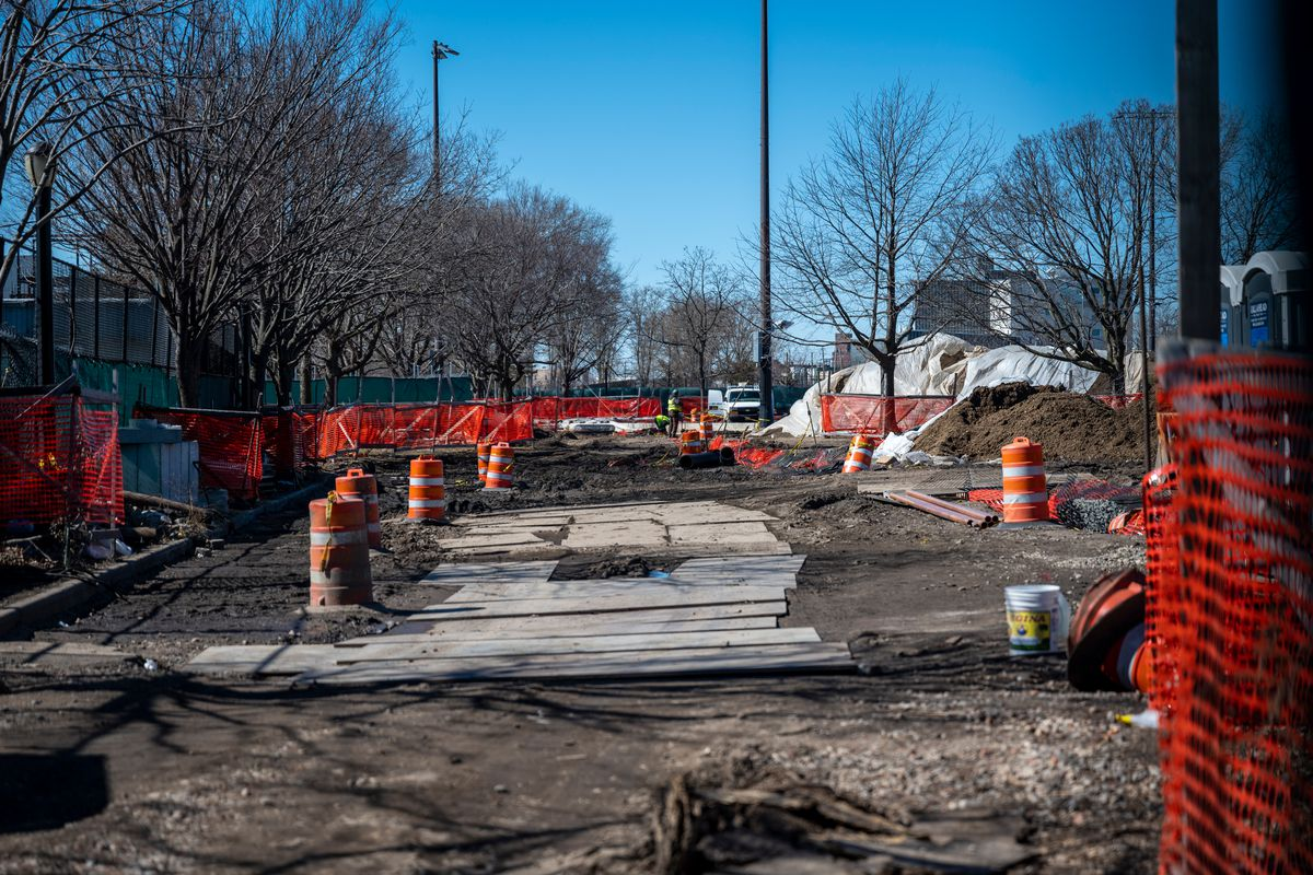 Workers were making repairs on fields next to the Red Hook Recreation Center, March 5, 2021.
