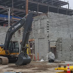 Building going up in broadcast lot -