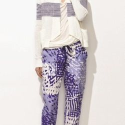 Theonne blue printed pants, $215.