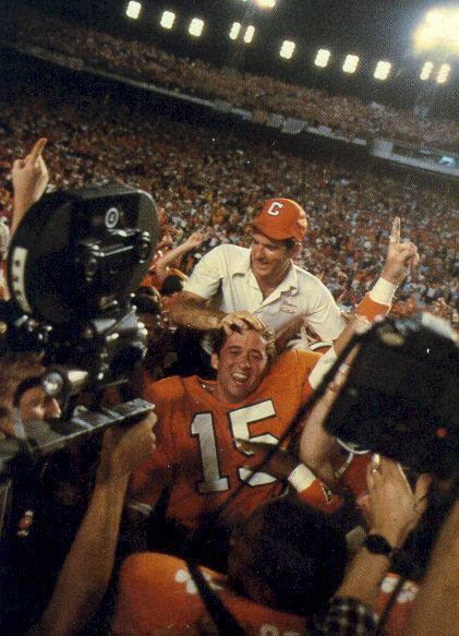 Danny Ford after the 1982 Orange Bowl victory over Nebraska to secure the 1981 National title (