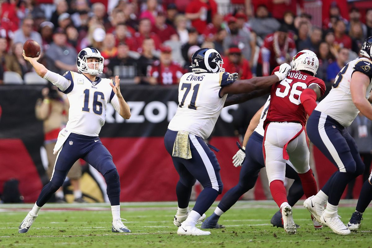 Quarterback Jared Goff of the Los Angeles Rams throws a pass during the first half of the NFL game against the Arizona Cardinals at State Farm Stadium on December 01, 2019 in Glendale, Arizona.