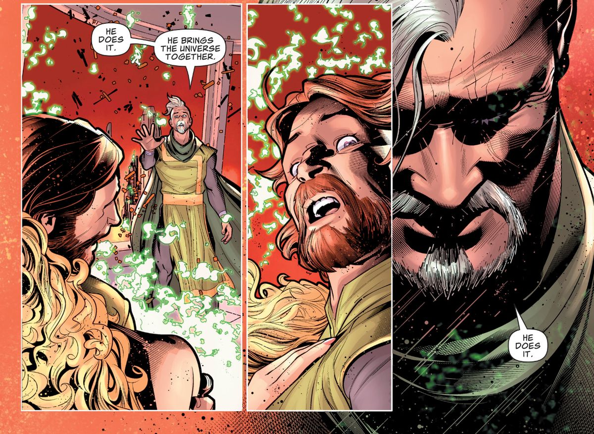Superman's father, Jor-El, tells a younger version of himself that their son unites the universe, just before they both perish in the destruction of Krypton, in Superman #15, DC Comics (2019).