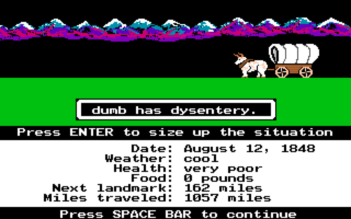 Dysentery in Oregon Trail