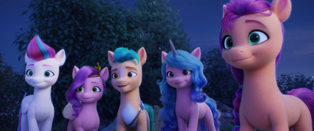 Zipp (voiced by Liza Koshy), Pipp (voiced by Sofia Carson), Hitch (voiced by James Marsden), Izzy (voiced by Kimiko Glenn) and Sunny (voiced by Vanessa Hudgens) in My Little Pony: A New Generation.