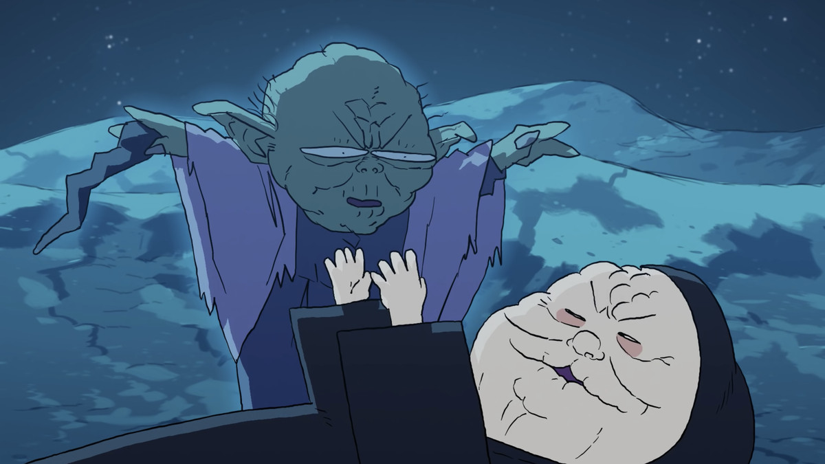 Animated versions of Yoda and Palpatine.