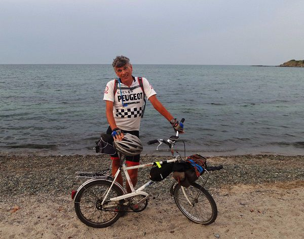 Journey's end. Wearing the vintage Peugeot jersey from French Revolutions