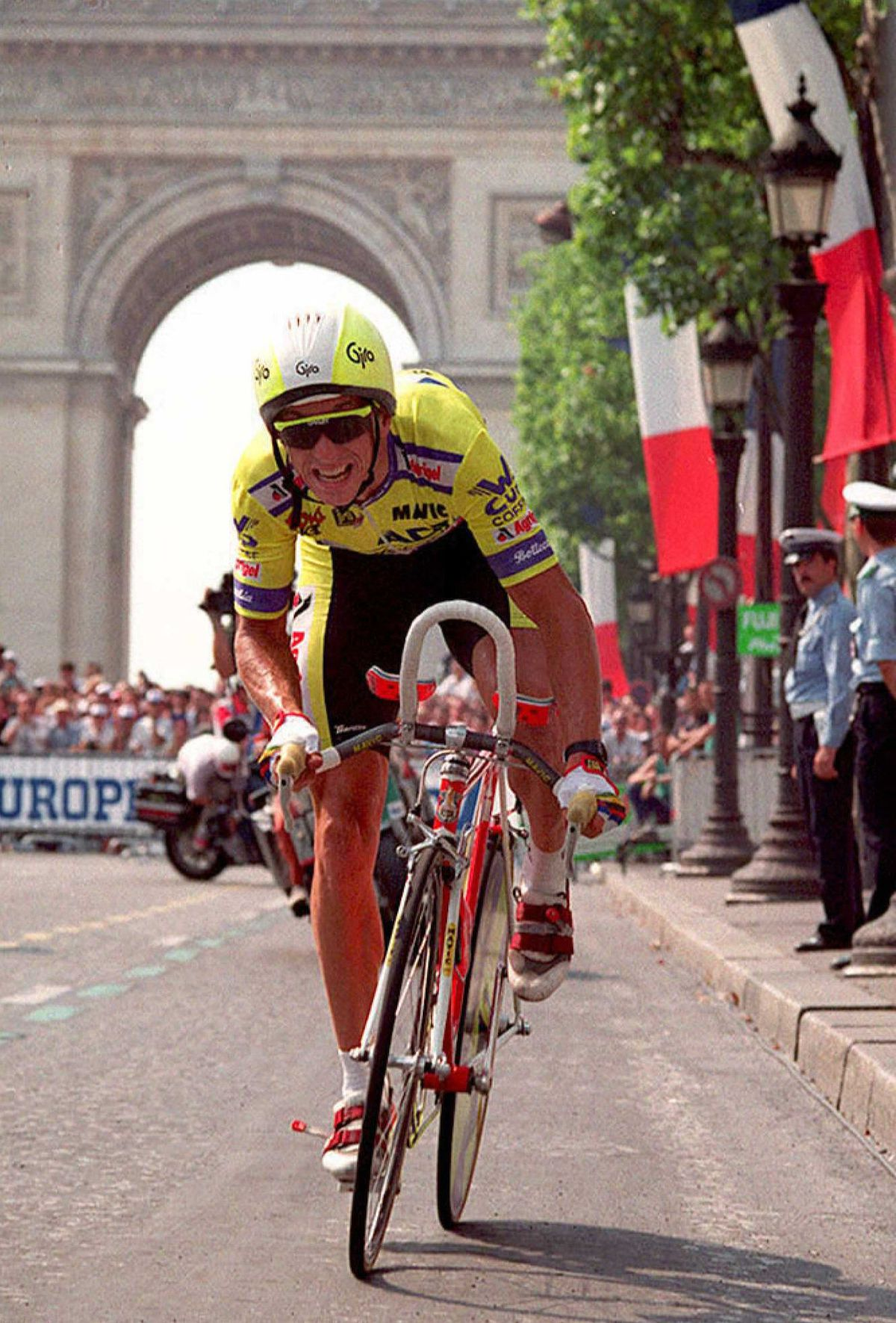 Greg LeMond of the US rides on the Champs Elysees
