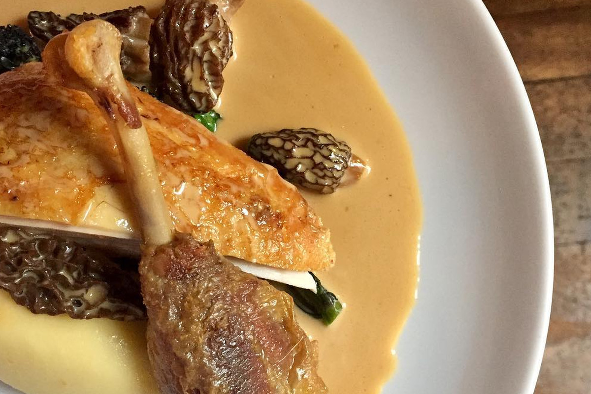 Guinea fowl at Noble Rot, one of London's best fireplace restaurants
