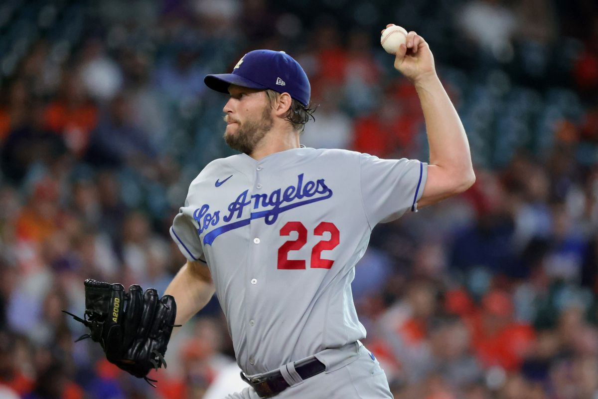 Clayton Kershaw #22 of the Los Angeles Dodgers delivers during the first inning against the Houston Astros at Minute Maid Park on May 25, 2021 in Houston, Texas.