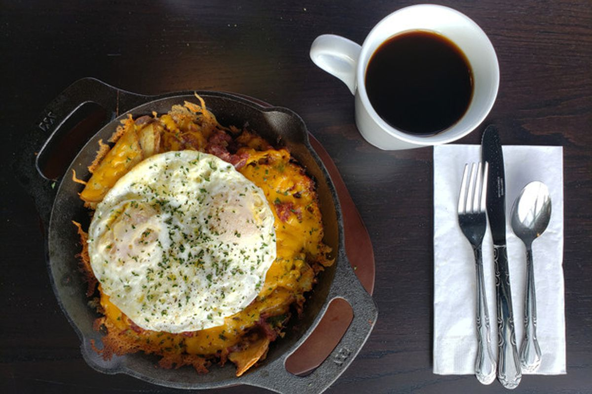 """A $10.99 """"great skillet"""" dish on the new menu at Centennial's Omelette Cafe."""
