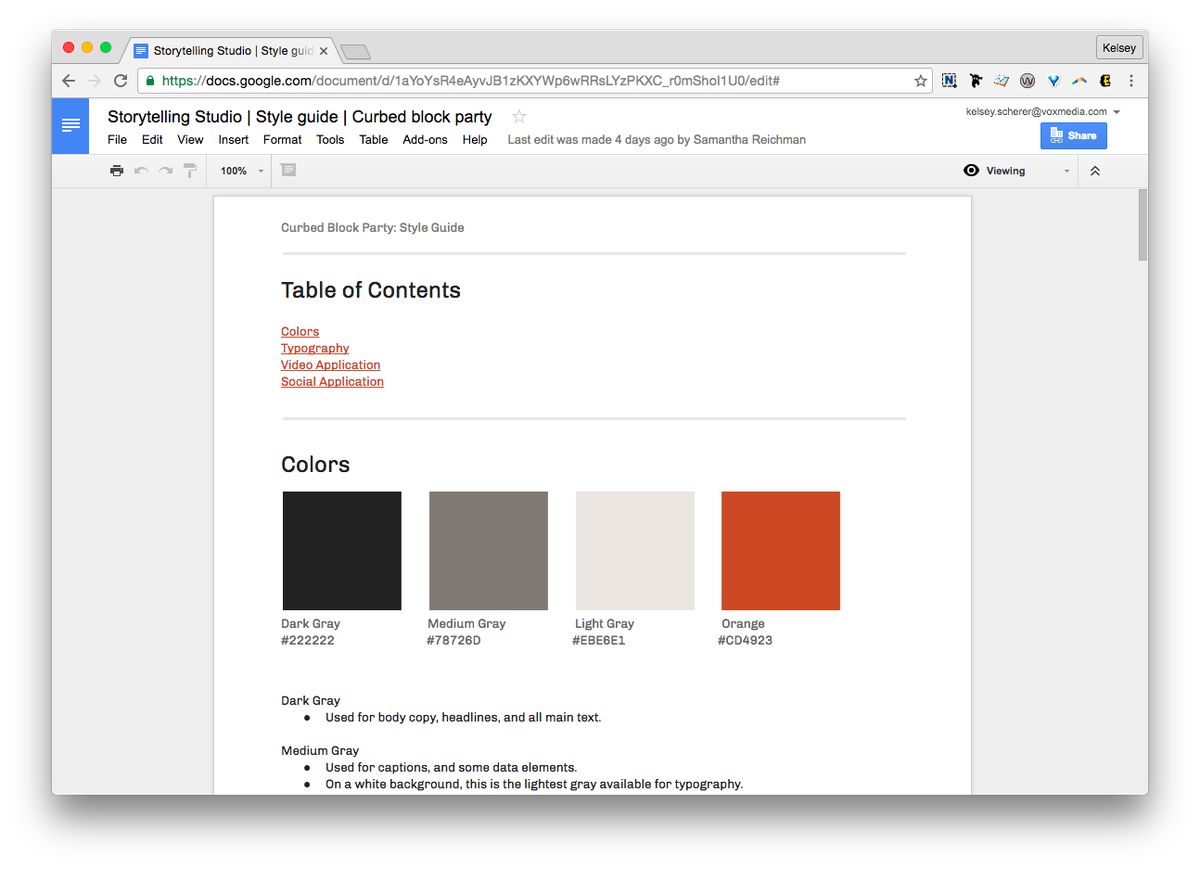 Screenshot of style guide in a google doc, showing the table of contents and the color section of the style guide.