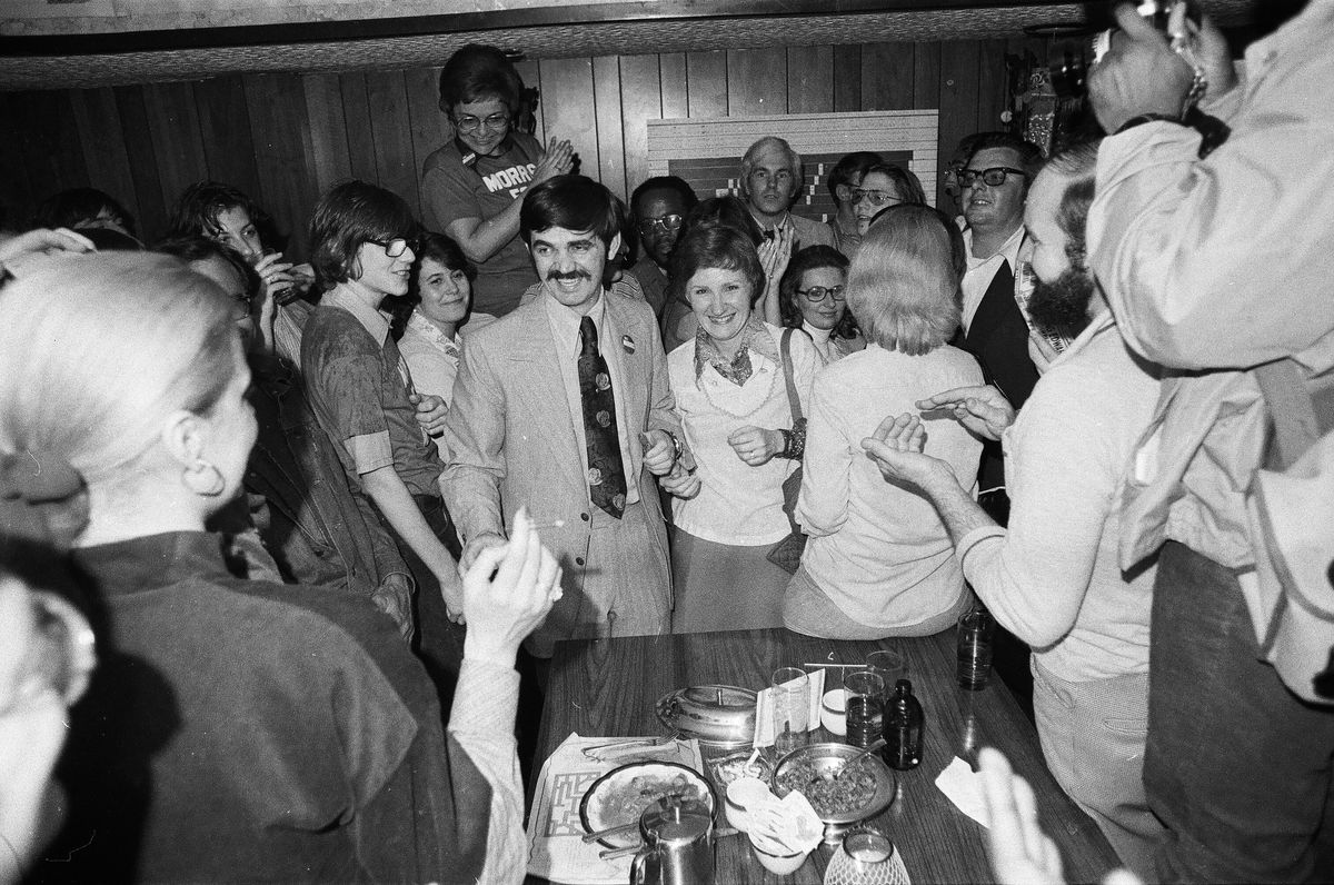 Former state Sen. Bill Morris in 1977 on the night he was elected mayor of Waukegan.