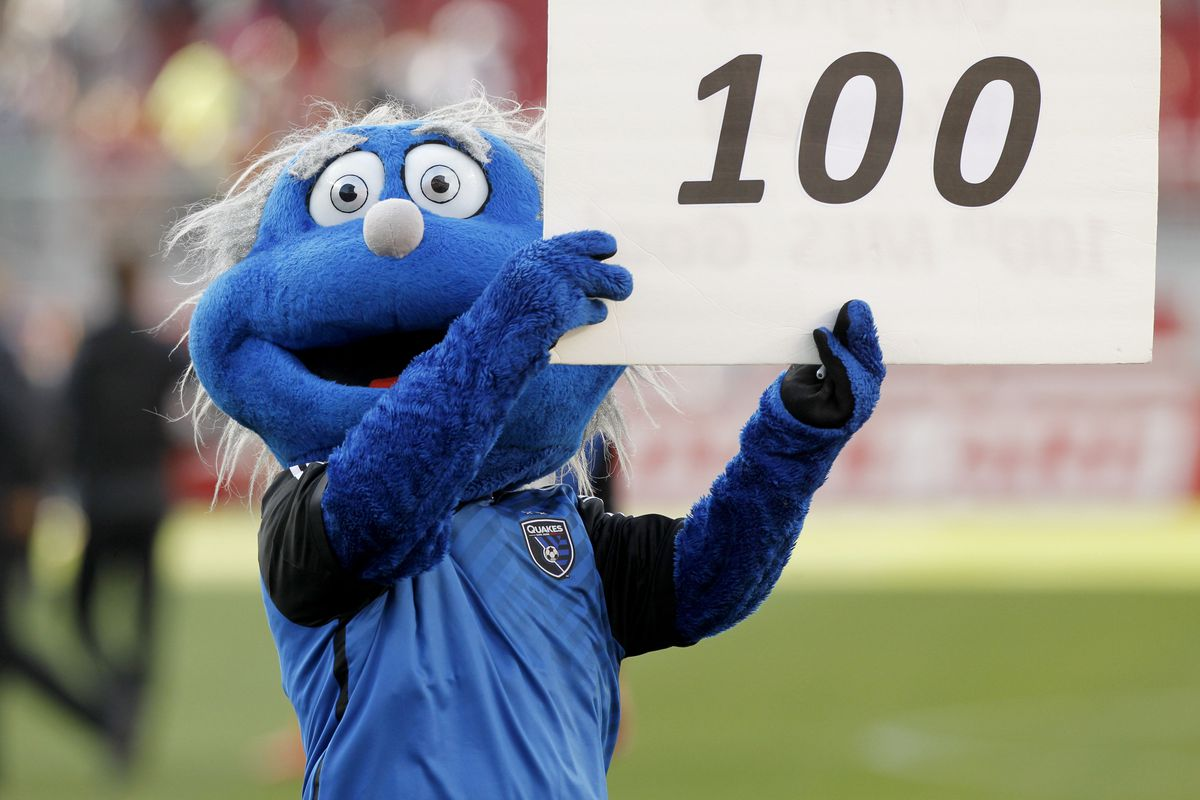 Chris Wondolowski... er, some muppet named Q, recognizes the newest inductee to the century club