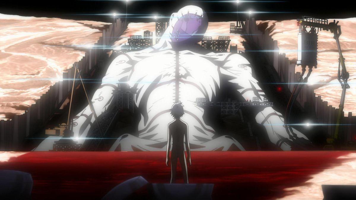 Nagisa Kaworu standing before a gigantic white figure on the moon.