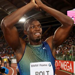 Jamaica's champion Usain Bolt greets his fans after losing the 100m men's race at the IAAF Golden Gala in Rome.
