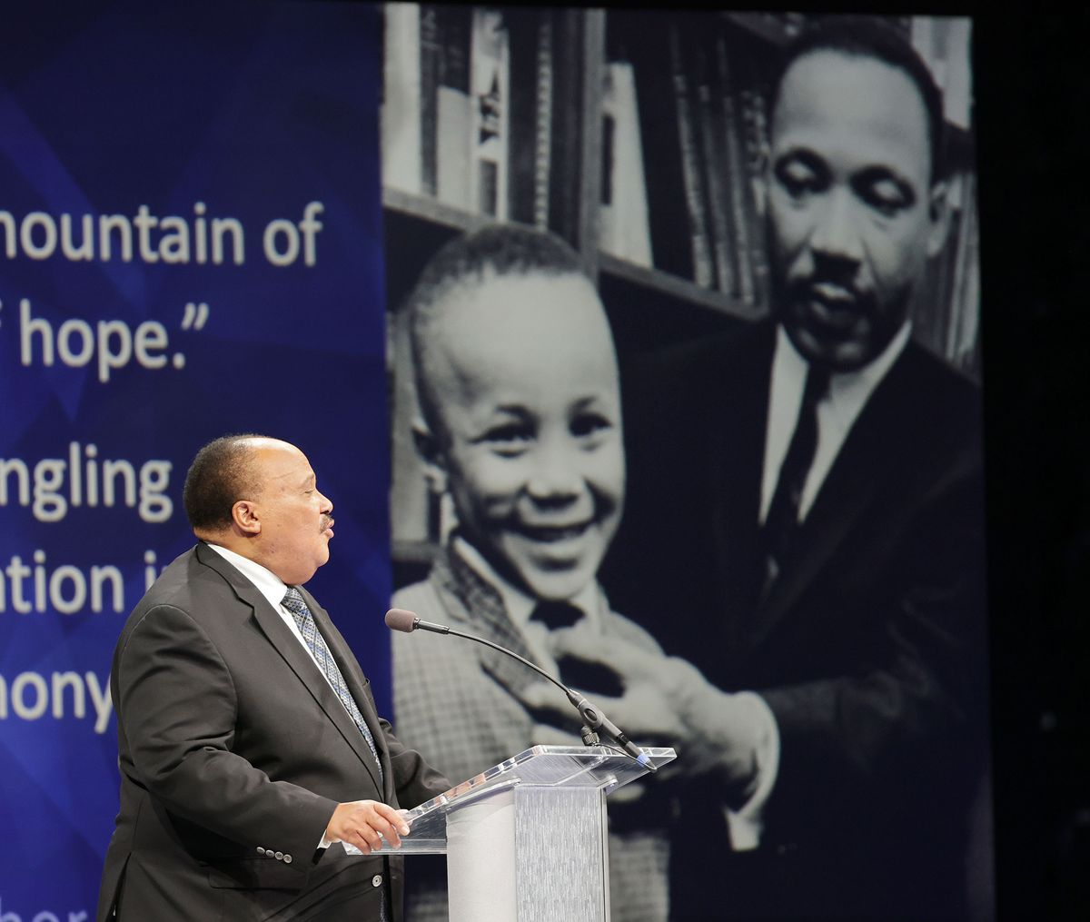 Martin Luther King III speaks during a Brigham Young University forum at the Marriott Center in Provo on Tuesday, Sept. 28, 2021.