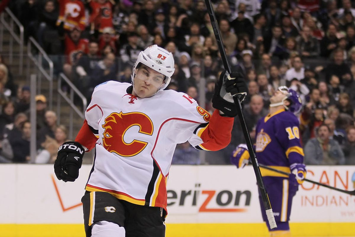 Michael Cammalleri gets a chance to centre the top line with Alex Tanguay and Jarome Iginla in an effort to spark the Calgary Flames playoff run.  (Photo by Jeff Gross/Getty Images)