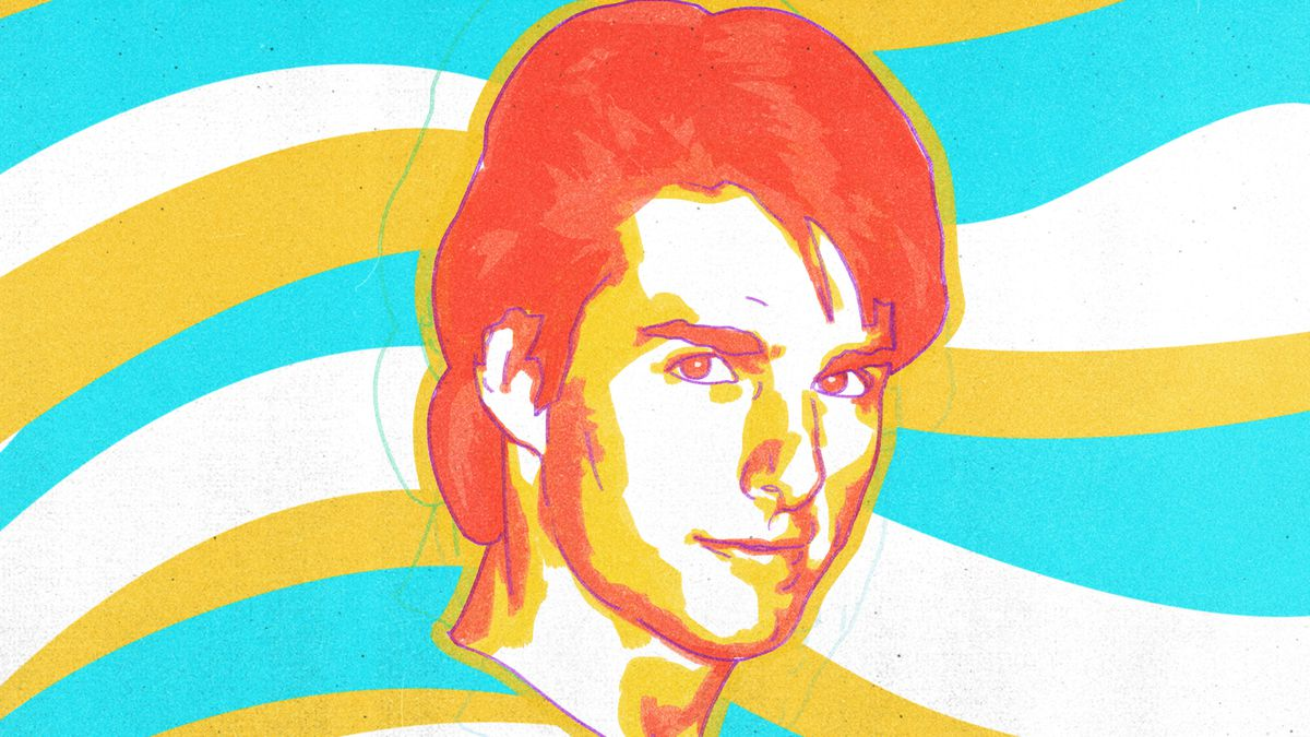 A watercolor-style illustration of Tom Cruise