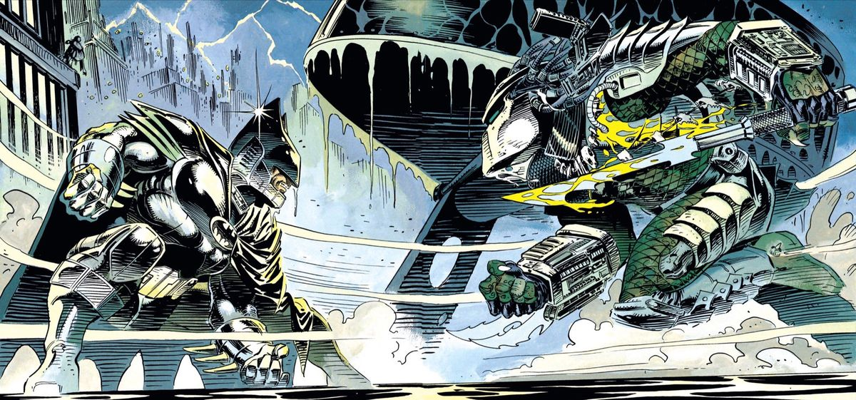 An exo-suit-clad Batman faces off against a saber-wielding Predator in the shadow of the bat signal on the roof of Gotham Police HQ in Batman vs. Predator, DC Comics/Dark Horse Comics (1991).