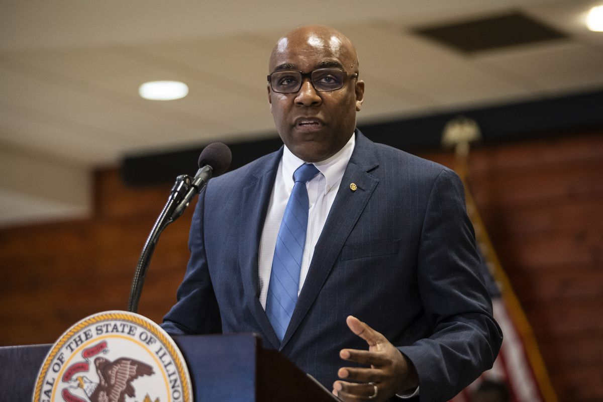 Illinois Attorney General Kwame Raoul speaks at a bill-signing ceremony in February.