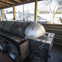 This is where executive chef and pitmaster Evan LeRoy smokes his meat.