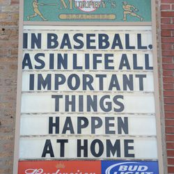 4:16 p.m. The sign outside of Murphy's Bleachers, at Waveland and Sheffield -