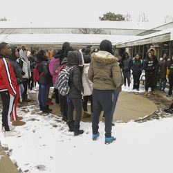 Oak Park and River Forest High School students stage a rally at Oak Park Village Hall to protest police violence in honor of Trayvon Martin, Wednesday, Feb. 26, 2020.