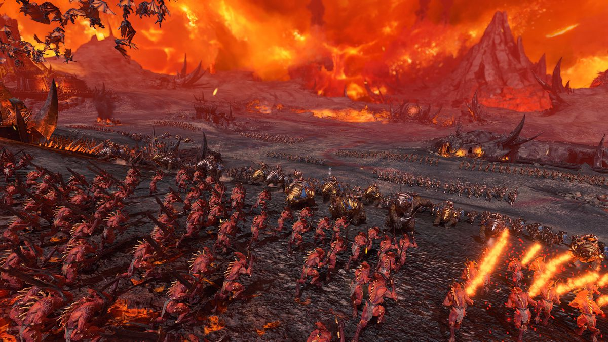 A view from behind a horde of demons as they race toward the Tzarina's lines in Total War: Warhammer 3