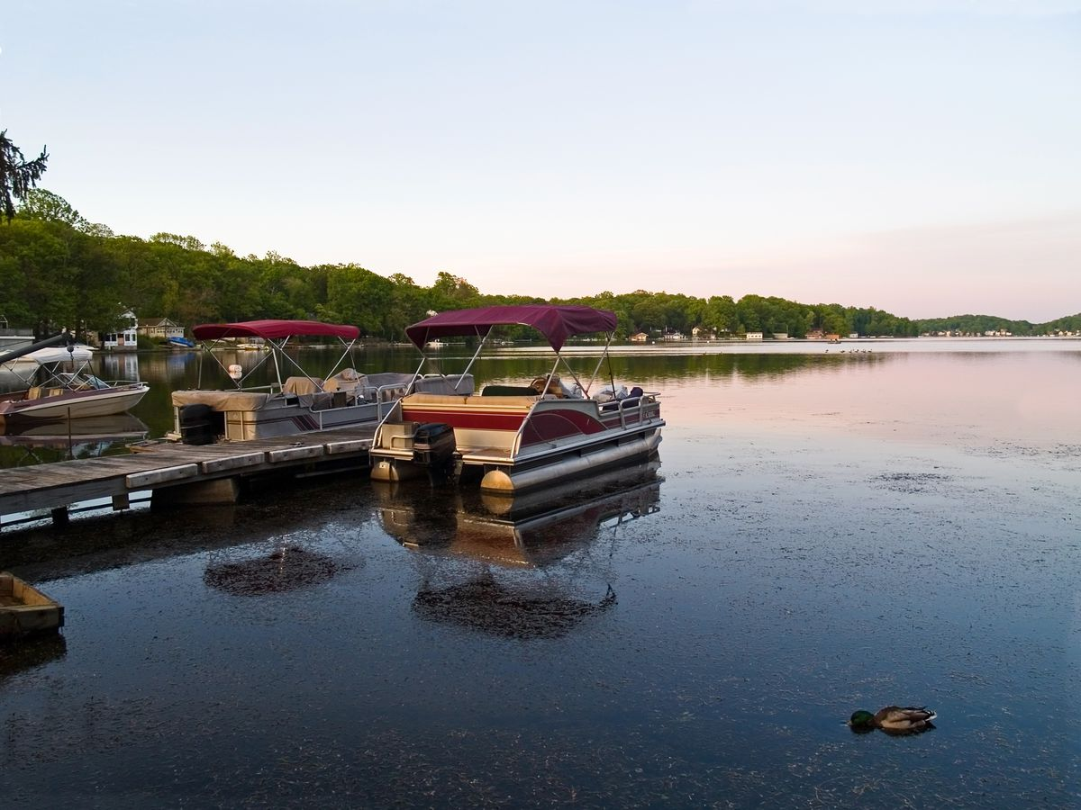 A lake with a dock. Next to the dock are boats. There are trees surrounding the lake. There is a sunset in the sky.