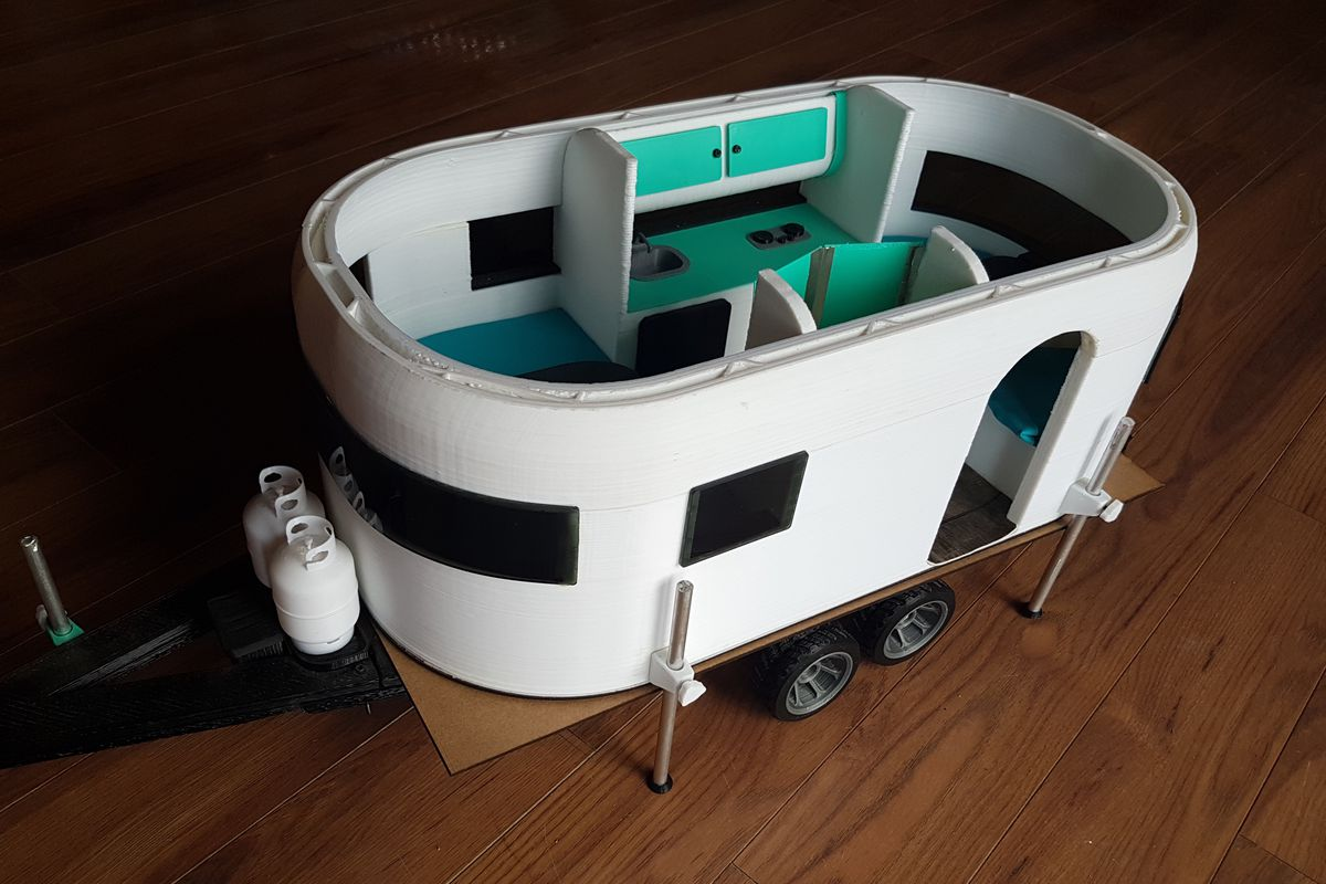 A scale model used to 3D print the camper.