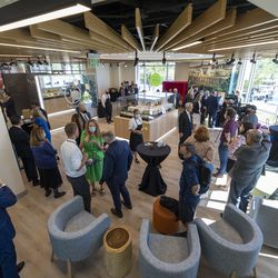 Members of the media and others talk and eat refreshments after touring the newly renovated Mesa Arizona Temple of The Church of Jesus Christ of Latter-day Saints in Mesa, Ariz., on Monday, Oct. 11, 2021.