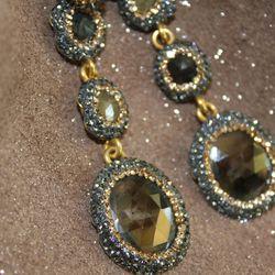 Crystal-encrusted earrings, $168